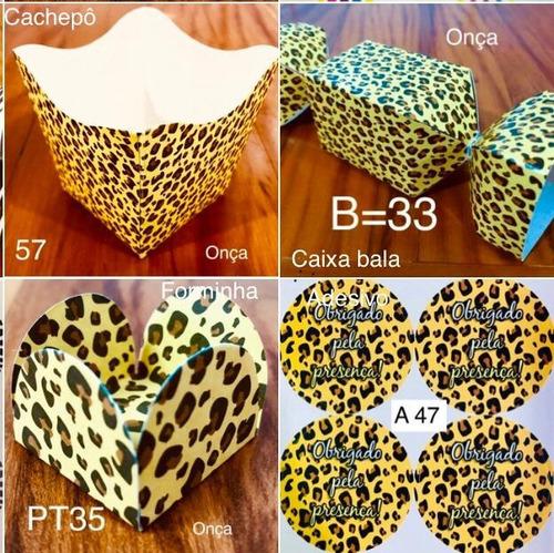 Imagem 1 de 5 de Kit 290  Peças Para Doces Festa Tema Onça Forminhas Safari