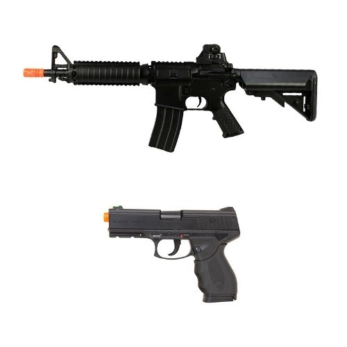 Rifle Airsoft Elétrico Cyma M4 Cm176 + Pistola Airsoft 24/7