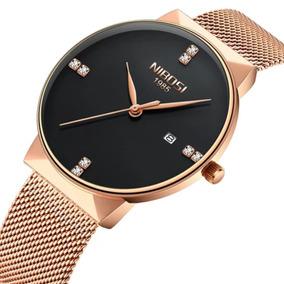 Relógio Nibosi Dourado/rosê Pulseira Aço