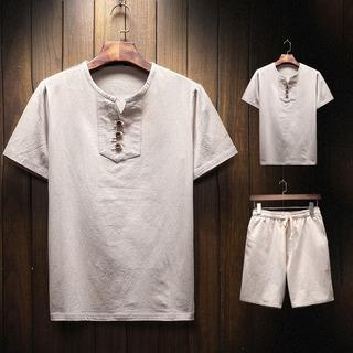 Hombre Manga Corta Traje Estilo Casual Lino T-shirt Y Pants