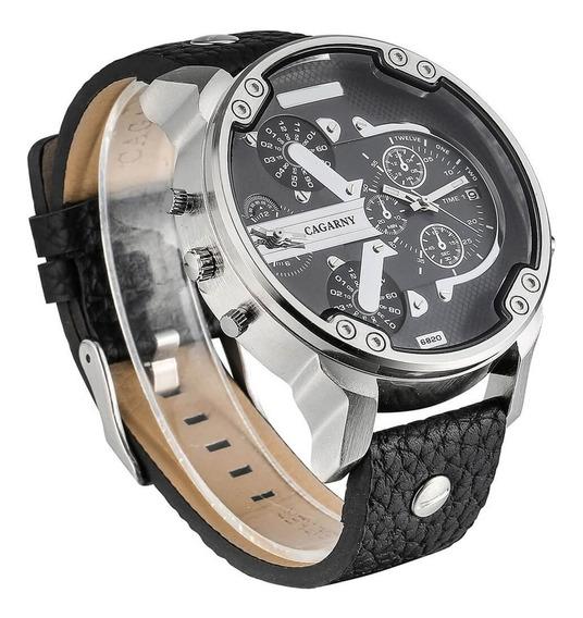 Relógio De Puso Original Cagarny Quartz Pulseira Couro -6820