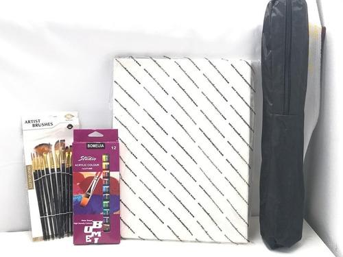 Kit Artistico / 12 Acrilicos + 12 Pinceles + Atril +bastidor