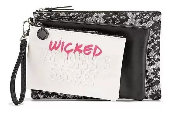 Trio Wicked Victoria Secret Set Sobre Neceser - Set X 3