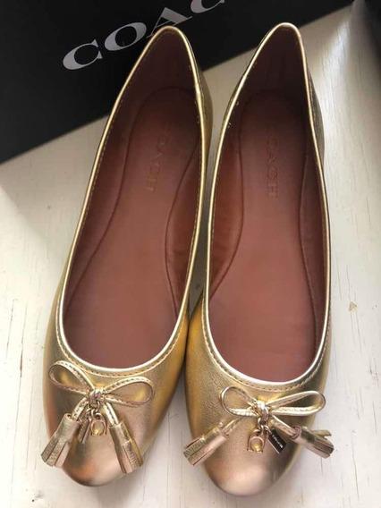 Zapatos Flats Coach Originales Piel 8 Ame 25 Mexicano