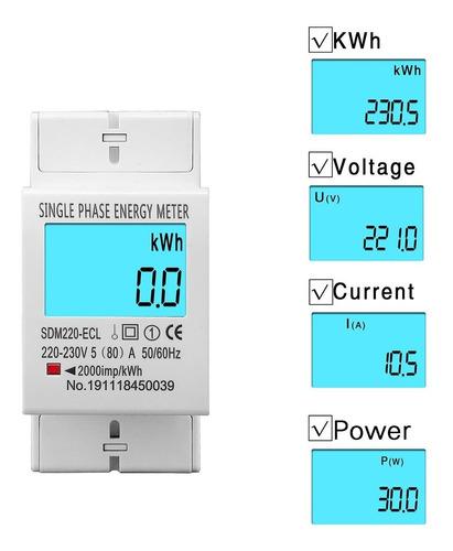 Medidor De Energía Eléctrica Monofásico Lcd Digital 5-80a