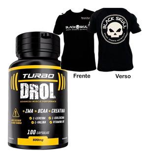 Turbo Drol - 100 Cápsulas + Dry Fit Caveira Black Skull