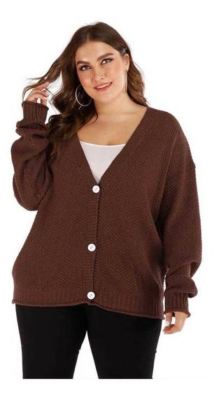 Mujer Cardigan Suelto Un Botonadura Profundo V Suéter Chaqu