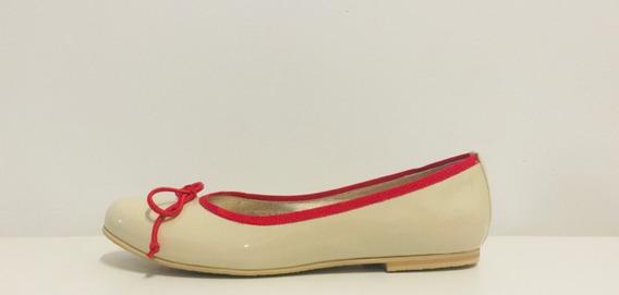 Zapatos Chatitas Ballerinas Mujer Crema Y Rojo Talle 27 A 38