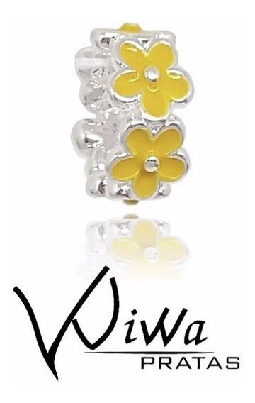 Berloque Separador Floral Amarelo Joia Em Prata Maciça 925 Charm Para Pulseira Pandora E Vivara Life