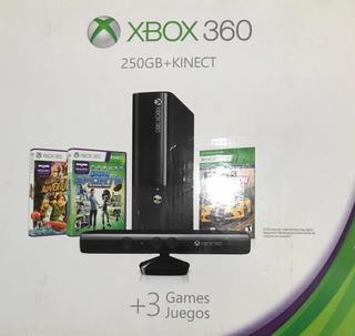 Xbox 360 C/250gb +kinect + 3 Juegos + 2 Joysticks - Original