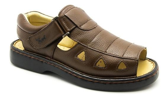 Sandália Masculina 303 Em Couro Floater Tabaco Doctor Shoes