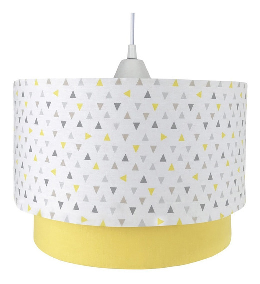 Lustre Pendente Luminária Moderna Amarelo Geométrico Bebê