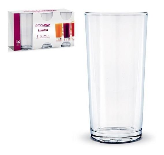 Jogo 6 Copos 300ml Long Drink Transparente Cozinha Bebida
