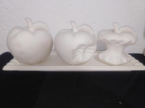 Imagen 1 de 6 de Centro De Mesa Frutero Manzanas Ceramica En Blanco Grande
