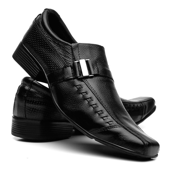 Sapatos Social Masculino Em Couro - Fivela - Preta