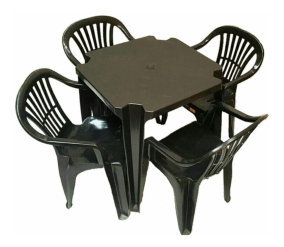 Conjunto De Mesa Com Cadeiras Plásticas Preta 4 Mesae E 16 C