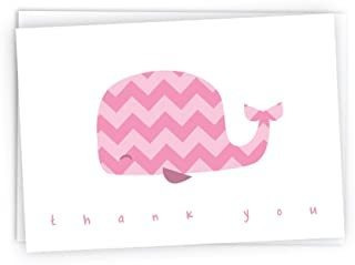 Tarjetas De Nota Coloridas De Chevron Whales Baby Thank You