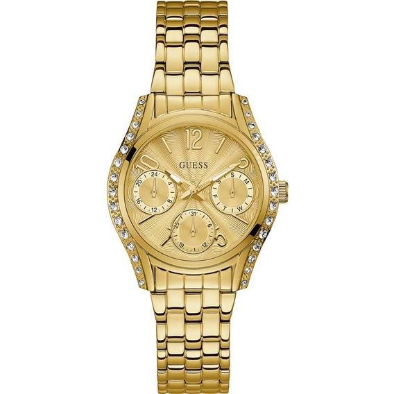 Relógio Guess Feminino Dourado Strass Original 92667lpgsda1
