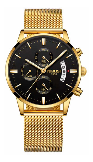 Relógios Masculino Nibosi Dourado Resistente A Riscos