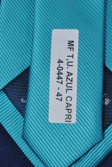 Corbata Italiana Azul Capri Lisa Marca Idea Seda