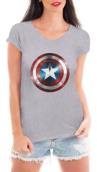 Camiseta Capitão América Escudo Feminina Vingadores Ultimate