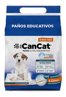 Paños Pañales Entrenamiento Perro Adhesivo 60x40 Cancat X100