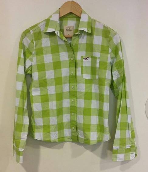 Camisa Cuadros Verde Limón Blanco Hollister Talle S