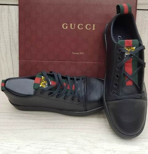 Tenis Gucci Sapatenis Preto Black Couro Casual Promoção 2019