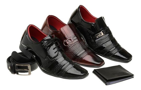 Kit 3 Pares Sapato Verniz Social Masculino Carteira E Cinto