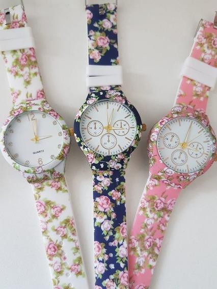 Kit 06 Relógios Floridos Feminino Atacado