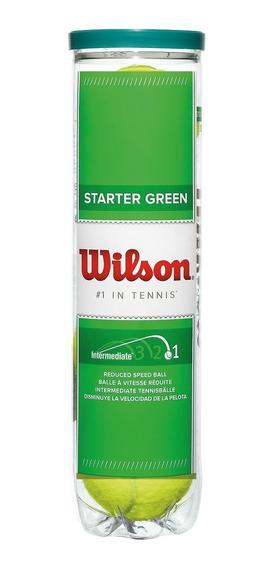 Bola Wilson De Tênis Starter Balls Verde - Tubo C/ 4 - Tênis