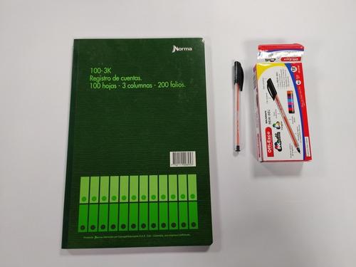 Cuaderno Registro De CuentasCaja De Lapiceros