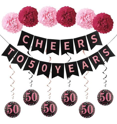 Imagen 1 de 6 de Kit De Decoracion De 50 Cumpleaños Para Mujer   Bandera De