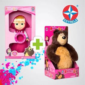 1 Bonceca Masha Com Som + 1 Urso Da Estrela Original