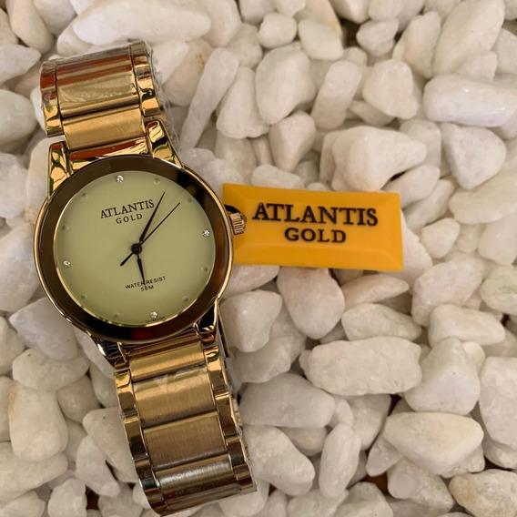 Relógio Feminino Atlantis Dourado Fundo Dourado Prova Dágua