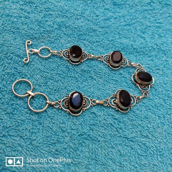 Pulseira Bracelete Prata 925 Com Ametista Púrpura Regulável