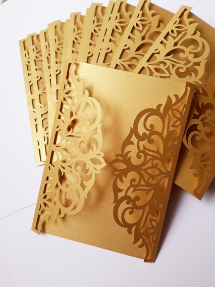 Sobre Calado Tarjeta Invitación Blondas Dorado