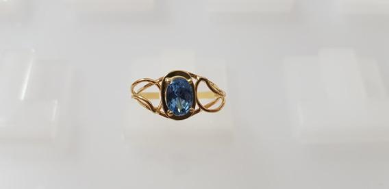 Anel Ouro Amarelo 18kilates 750, Pedra Natural Topázio Azul