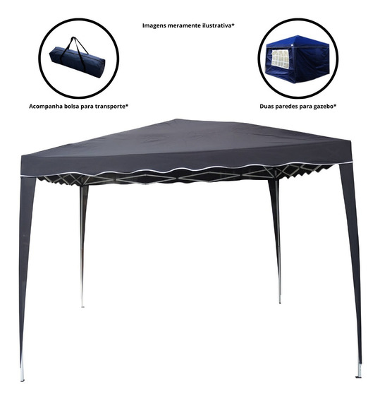 Tenda Gazebo Articulável 2 Paredes 3x3m Barraca Praia
