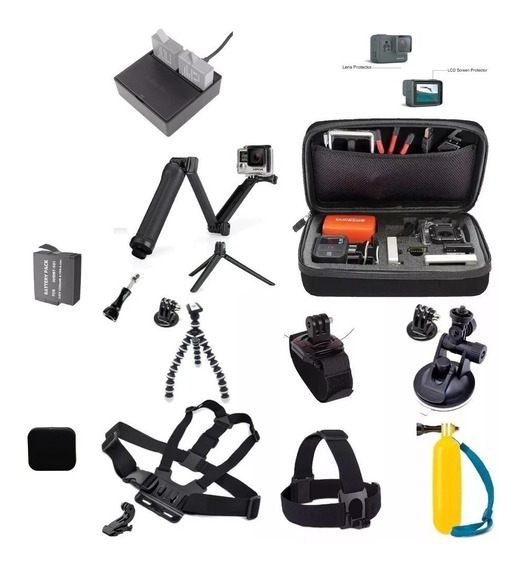 Kit Gopro Black 5 6 7 Case Carregador Bateria 3 Way Ventosa