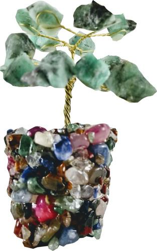 Árvore Pedra Natural Cristal Esmeralda Base Cascalho