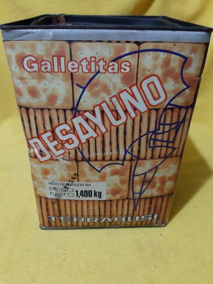 Antigua Lata Chapa Y Cartón Galletitas Desayuno Terrabusi