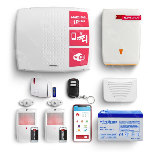 Kit Marshall Casa Alarma Domiciliaria Wifi Ip Internet Sensor Inalambrico Sirenas App Celular