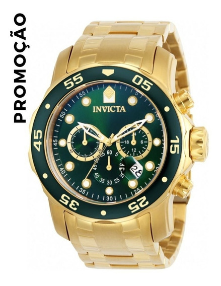 Relógio Invicta Pro Diver 0075 Banhado A Ouro 18k Verde