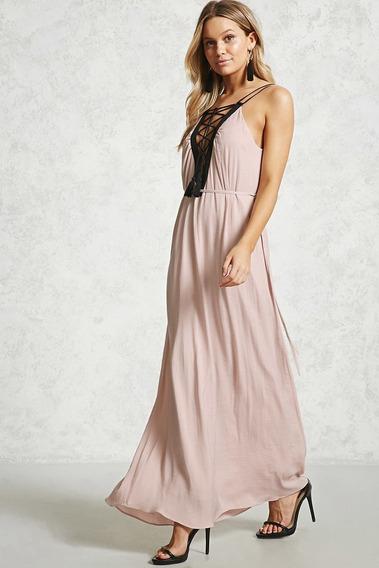 Vestido Largo Forever 21 Blush Cordones