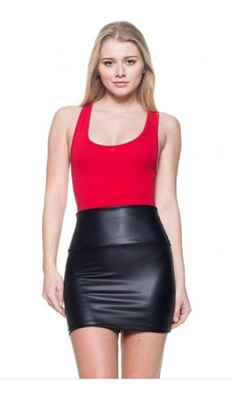 Pollera Minifalda Engomada Cuero Tiro Alto Cintura Ancha