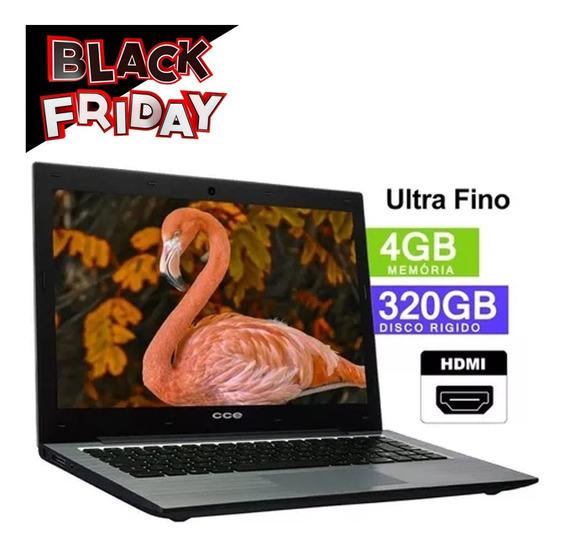 Notebook Cce Intel 4gb Hd 320gb Hdmi Ultra Fino Promoção