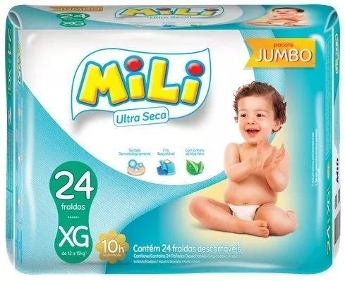 Fralda Mili Ultra Seca Jumbo Xg C/ 24 Fraldas 3 Pacotes