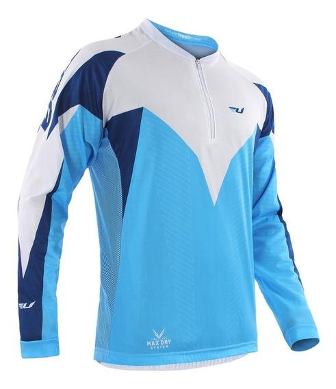 Camisa Ciclismo Azul/branco Manga Longa Tam M Ultra Bikes