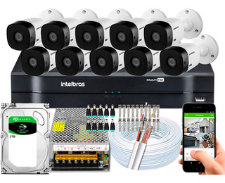 Kit Cftv Intelbras 10 Cameras Vhl 1220 B 1080p 16 Canais 2tb